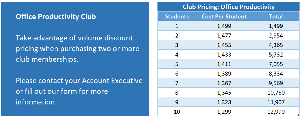 Office Productivity Club Pricing plus text
